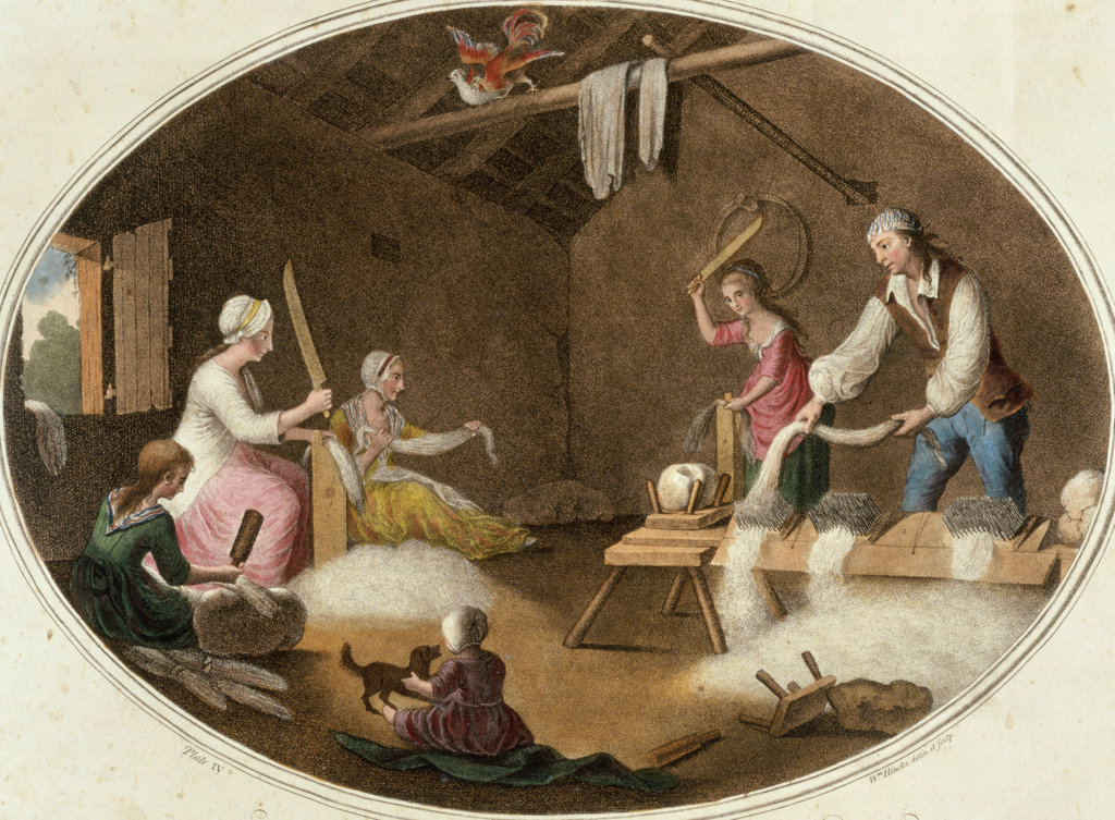 Stock Photo: 862-1475 Family Preparing Flax Artist Unknown Victoria & Albert Museum, London