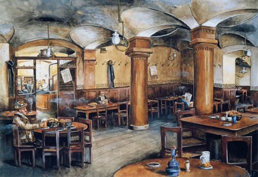 Stock Photo: 862-1507 Inside The Winter Bierhaus In Vienna