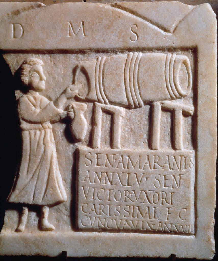 Stock Photo: 862-1509 Funerary Stele of Senitia Amantis (A Tavern Scene with Man Tapping Wine Barrel) 1st Century Roman Art Marble Museo Nacionale de Arte Romano, Merida, Spain