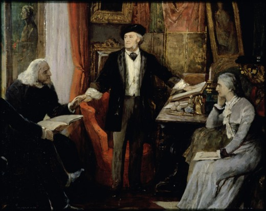 Richard & Cosima Wagner, & Franz Liszt in Wanfried House in 1880