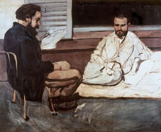 Paul Alexis Reading Manuscript to Emile Zola Paul Cezanne (1839-1906 French) Oil on canvas Museu de Arte, Sao Paulo, Brazil : Stock Photo