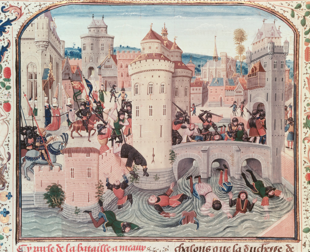 Stock Photo: 862-1547 Massacre of Rebellious French Peasants at Meaux by Dauphin's Troops in 1358