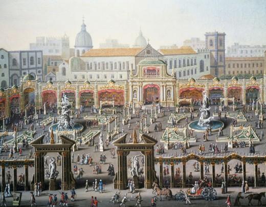 Fair In Naples In Palace Square  Joli, Antonio(ca.1700-1777 Italian) Oil On Canvas Private Collection  : Stock Photo