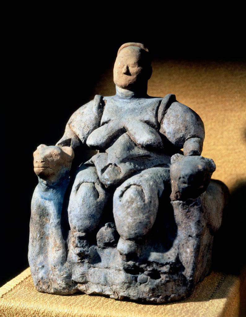 Stock Photo: 862-1568 Fertility Goddess from Catal-Huyuk 7th-8th C. BCE Artist Unknown Hittite Museum, Ankara, Turkey