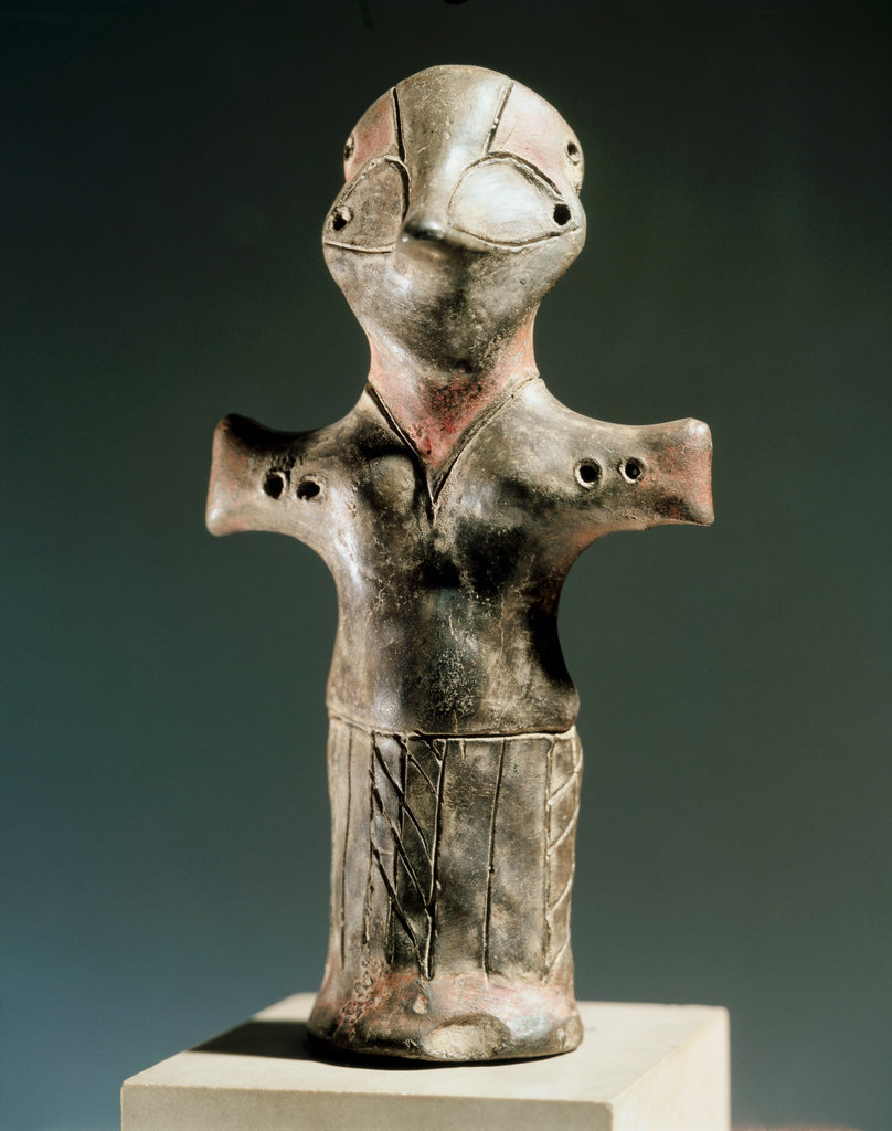 Stock Photo: 862-1571 Anthropomorphic Idol, Clay, Neolithic, From Excavations Near Vinca In Serbia
