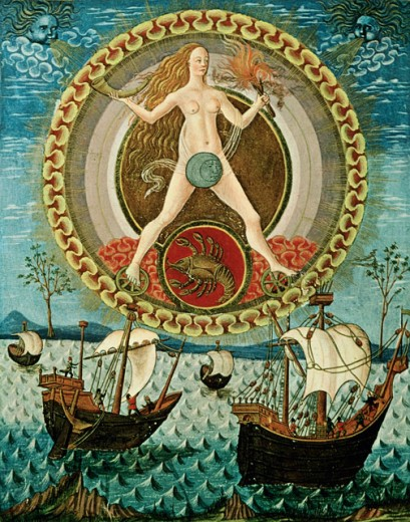 Stock Photo: 862-1579 Moon Accompanies Voyage Of Sailors Cancer De Spaera Manuscript 15th Century Manuscript Biblioteca Estense, Modena, Italy