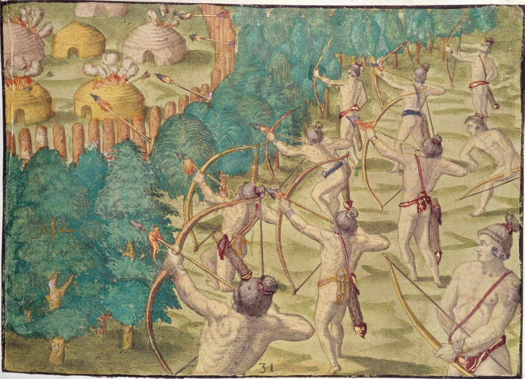 How They Set on Fire an Enemy's Town by  Theodor de Bry (1528-1598 Netherlandish) American History New York Public Library, New York, USA  : Stock Photo