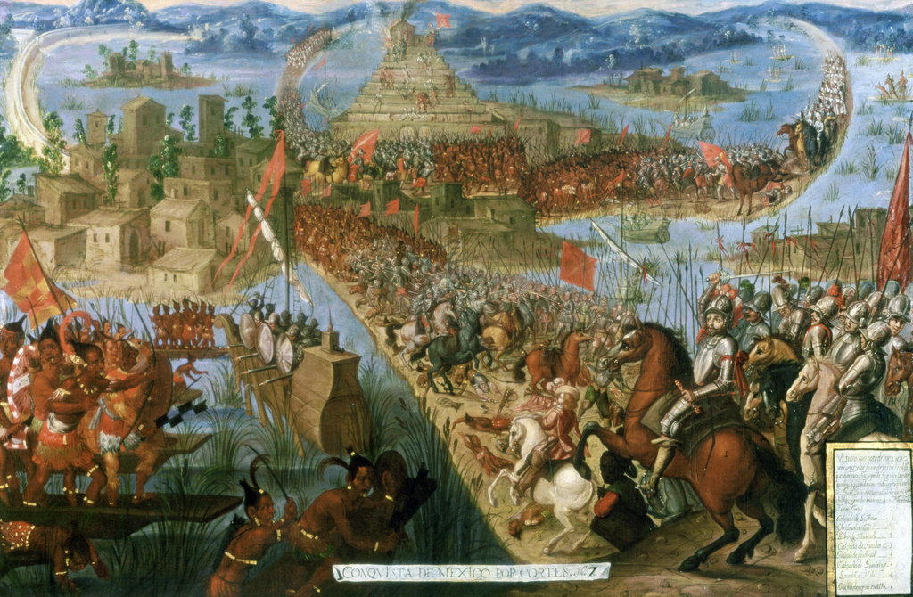 Stock Photo: 862-1588 Conquest of Mexico - Last Battle For Mexico Late 18th C. Artist Unknown Oil on canvas Private Collection
