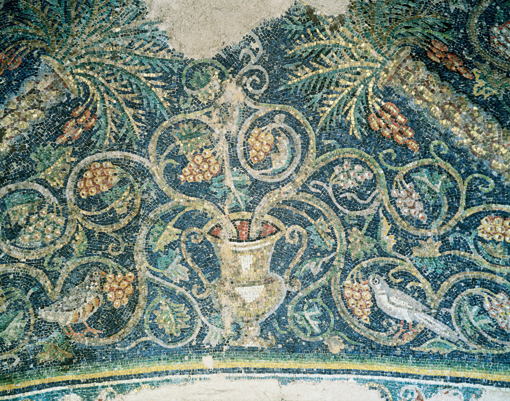 Mosaic Of Vines And Grapes Early-Christian, San Prisca Chapel
