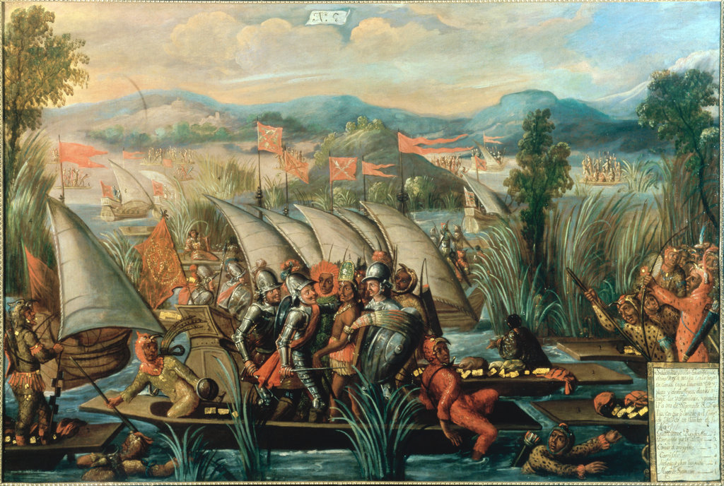 Stock Photo: 862-1600 Conquest of Mexico - Cortes & Guantemoc