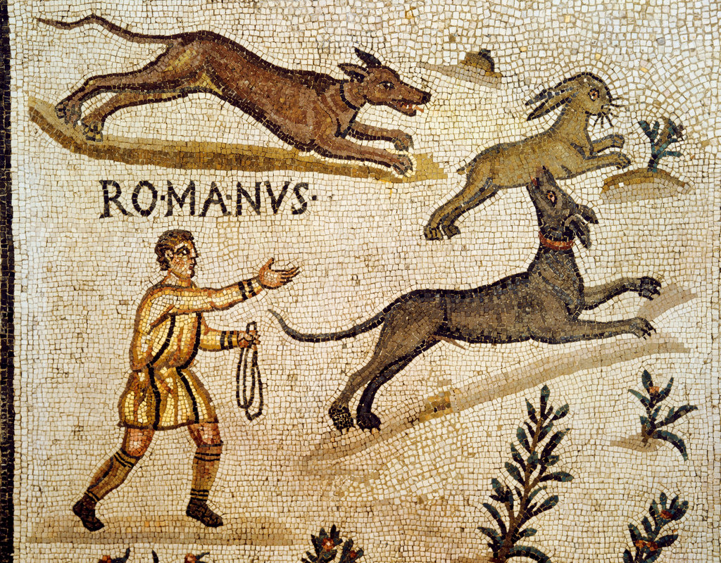 Stock Photo: 862-1607 Hare Hunting (Roman Mosaic)