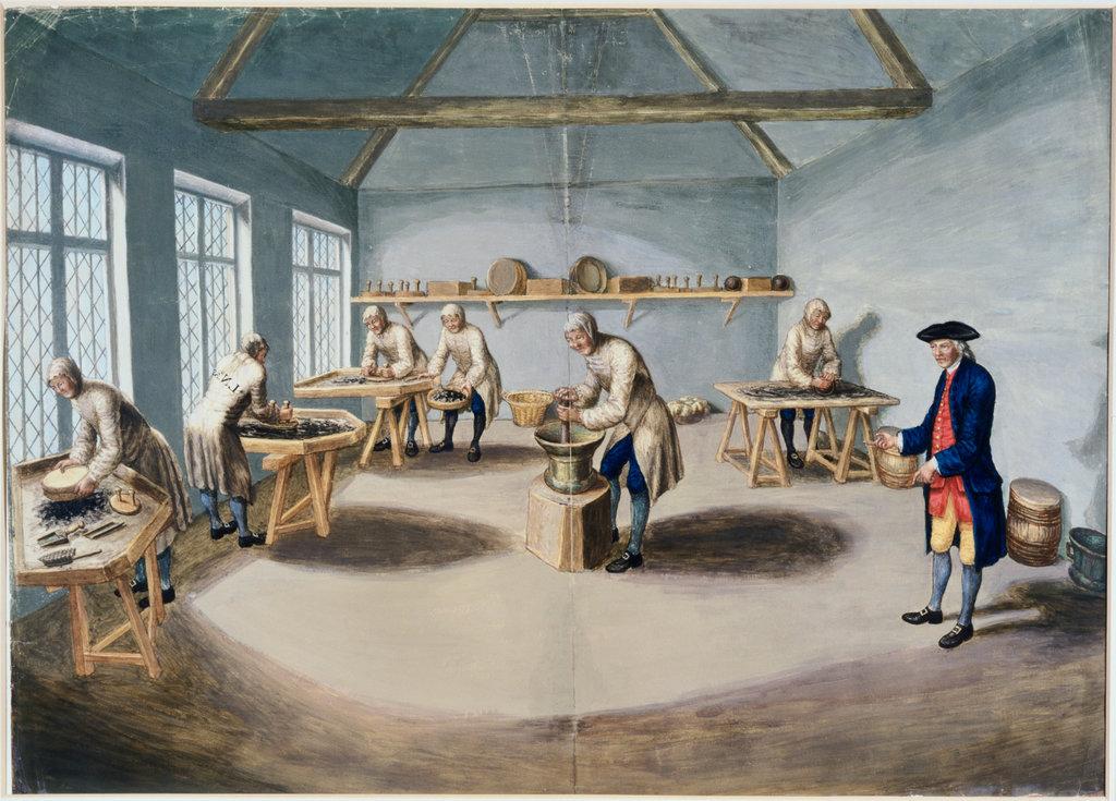 Stock Photo: 862-1612 Woolwich Arsenal Making Gunpowder ca. 1750 Artist Unknown  National Maritime Museum, Greenwich,London,England