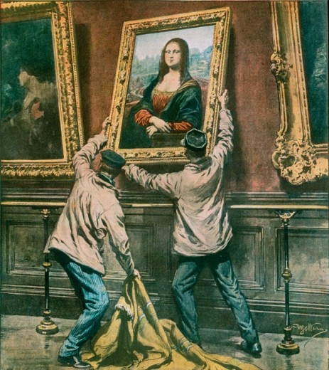 Stock Photo: 862-1622 Theft of Mona Lisa from Louvre, Paris 3.9. 1911