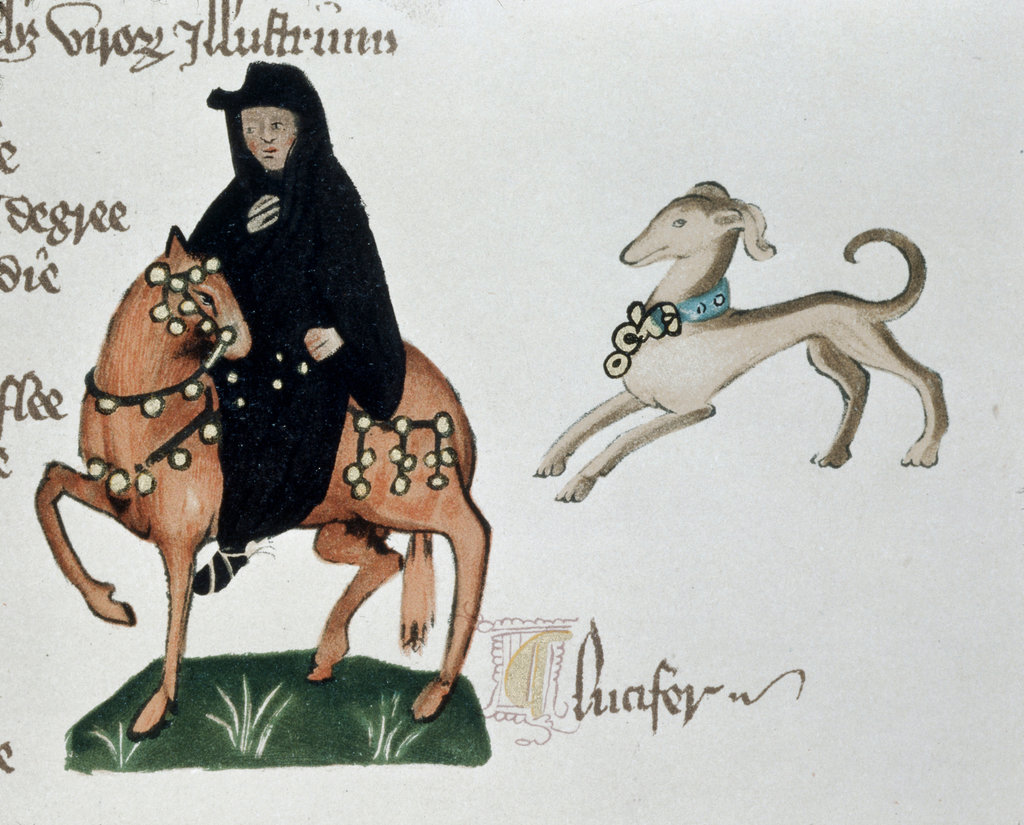 Stock Photo: 862-1629 Monk, The Facsimile of Ellesmere Chaucer Manuscript 1400-1410 Victoria & Albert Museum, London, England