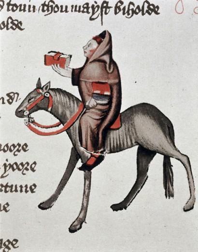 Clerk of Oxenford, The Facsimile of Ellesmere Chaucer 1400-1410 Manuscript Victoria & Albert Museum, London, England : Stock Photo