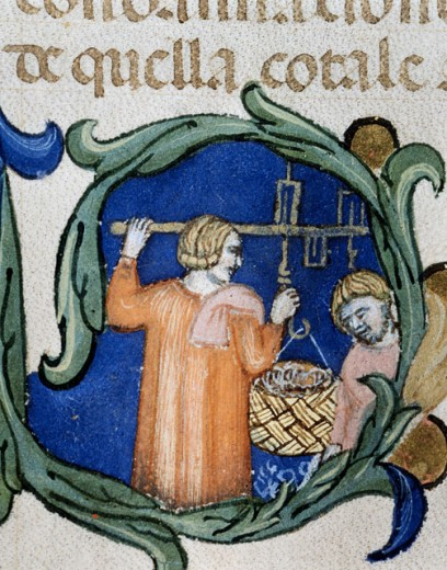 Stock Photo: 862-1656 Mariegola of Wool Merchants Venetian Weighing the Wool