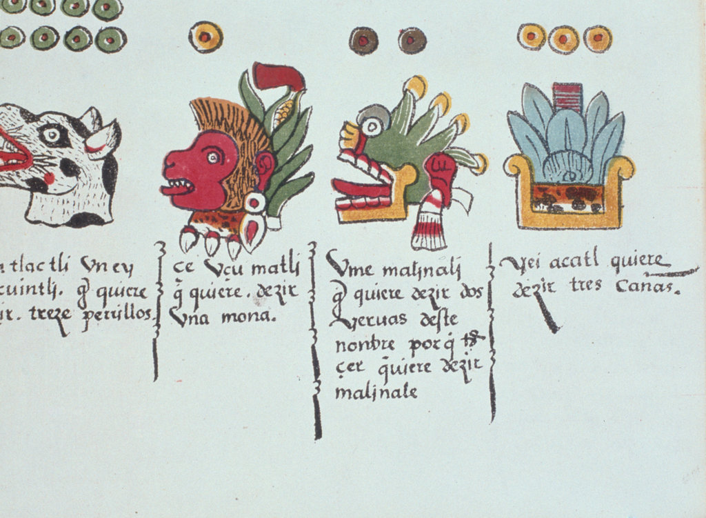 Stock Photo: 862-1662 Aztec Days of Month (L to R) Dog, Monkey, Wild Grass, Reed, (from Florentine Codex), unknown artist, illustration