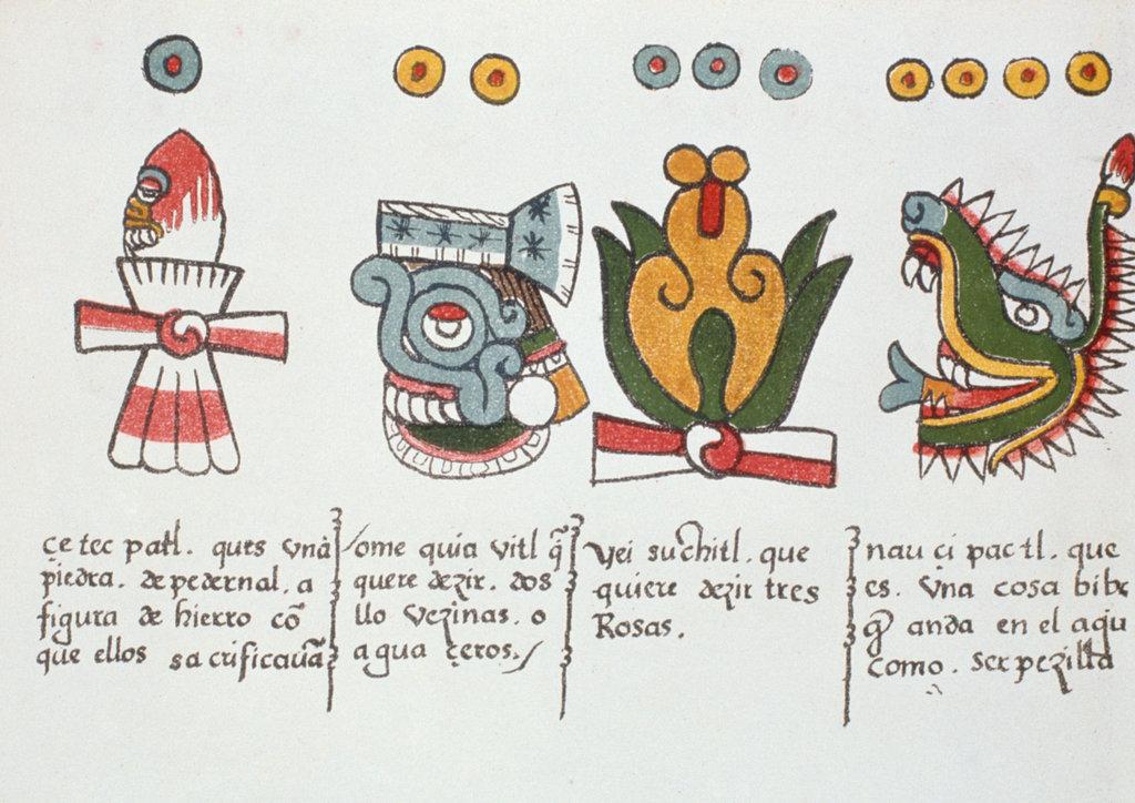 Stock Photo: 862-1663 Aztec Days of Month (L to R) Flint Knife, Rain, Flower, Alligator, (from Florentine Codex), unknown artist, illustration