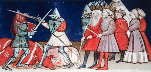 Duel Between Knights In Presence Of Emperor Charlemagne 14th Century World History/France Manuscript Biblioteca Marciana, Venice, Italy : Stock Photo