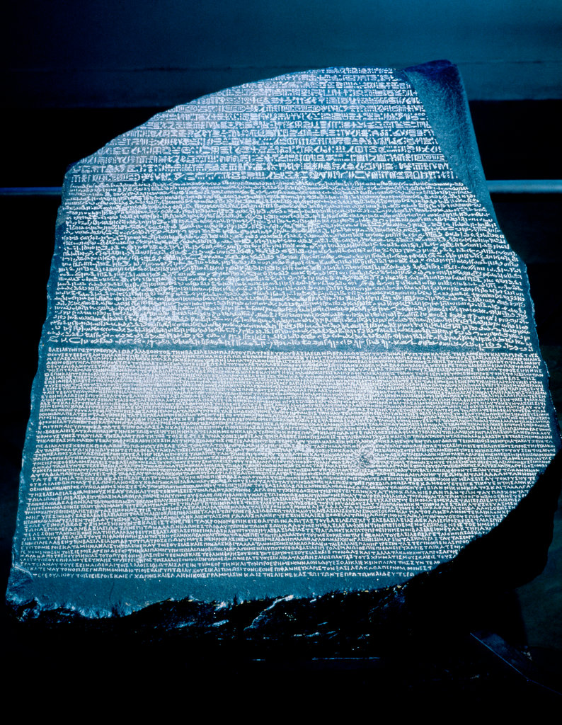 Stock Photo: 862-1677 Rosetta Stone: Hieroglyphic, Demotic, and Greek Translation