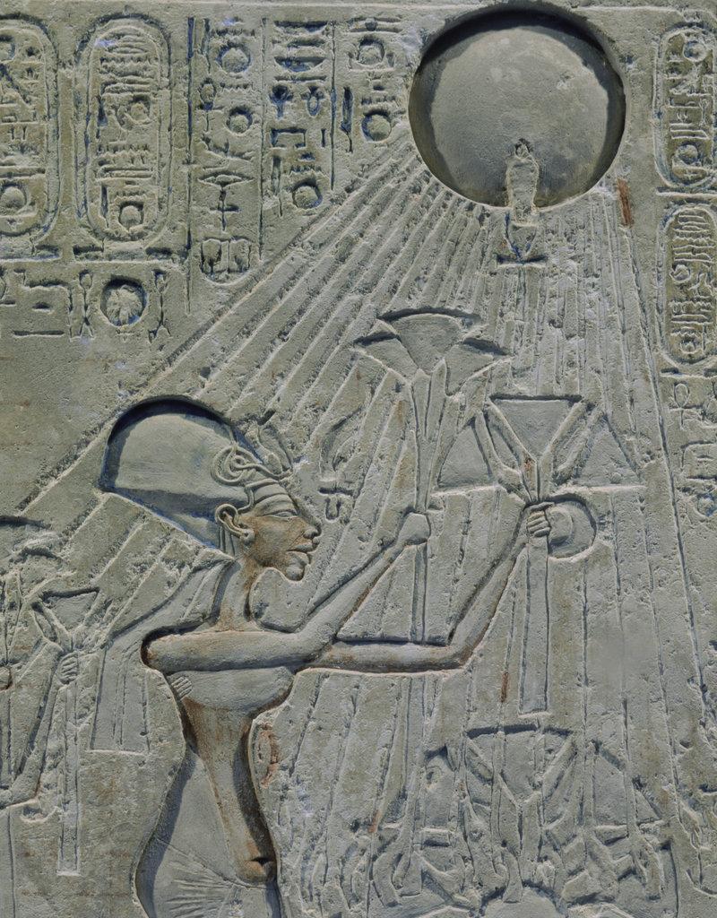 Stock Photo: 862-1679 Nefertiti Adoring Solar Disc Kingdom 18th Dynasty Limestone Egyptian Museum, Cairo, Egypt