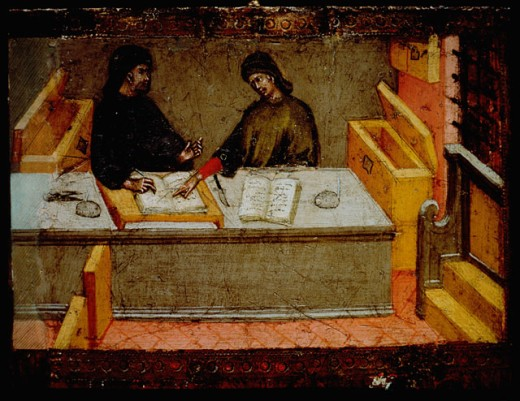 The Camerlengo And His Secretary In Their Office 1394 Giovanni di Paolo (Italian) Oil On Wood Panel Siena State Archives, Italy : Stock Photo