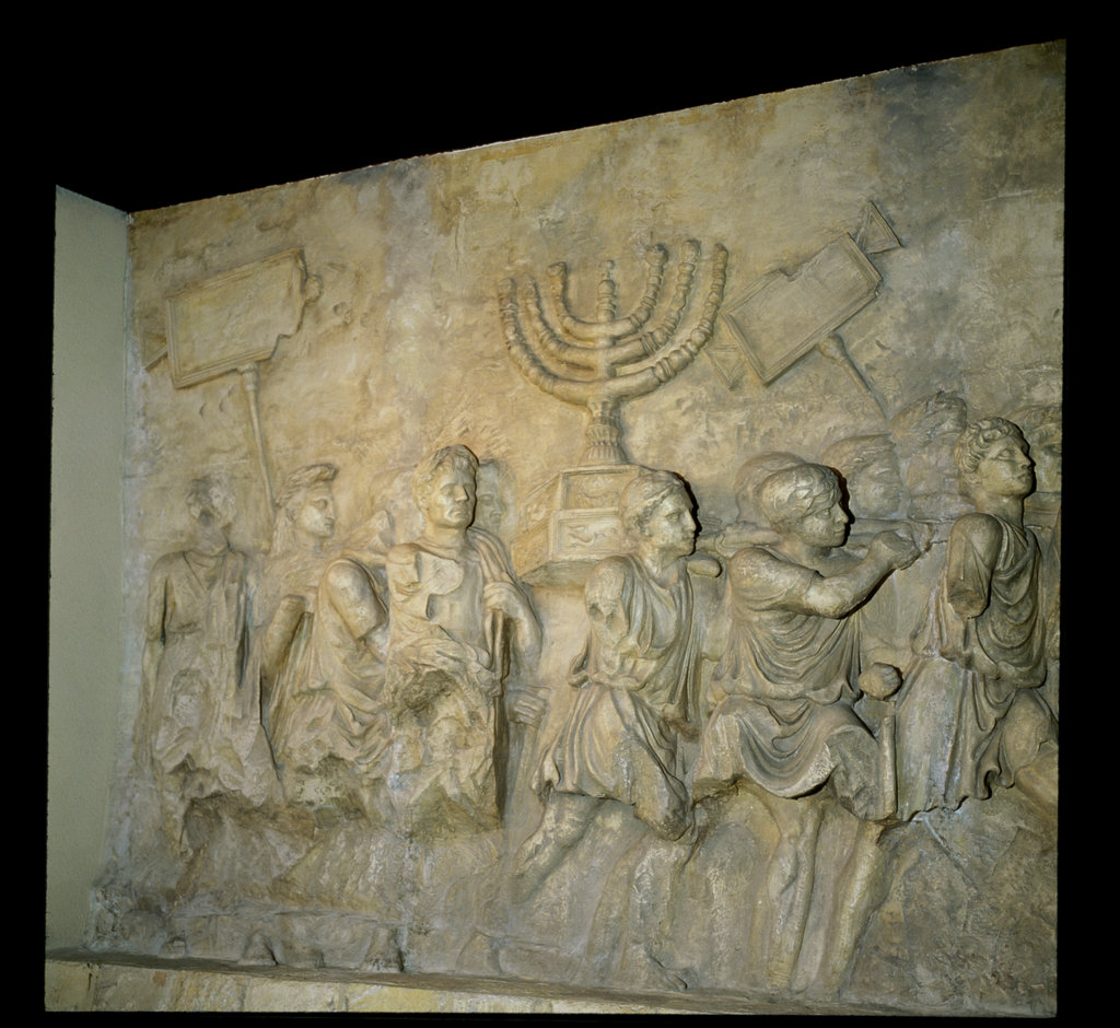 Stock Photo: 862-1685 Destruction of the Temple of Jerusalem,  70 A.D:  Roman Soldier Carrying Away Menorah