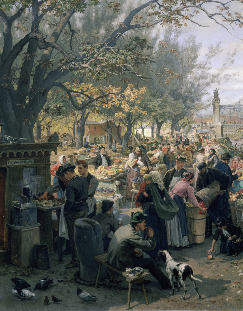 Stock Photo: 862-1688 Fruit Market in Vienna Near Maria Theresa Bridge