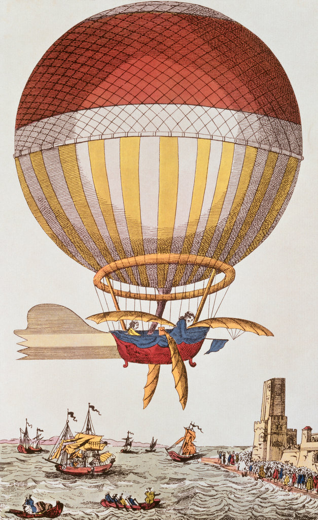 Channel Crossing by Balloon 1785 Blanchard and Jeffries Lithograph : Stock Photo