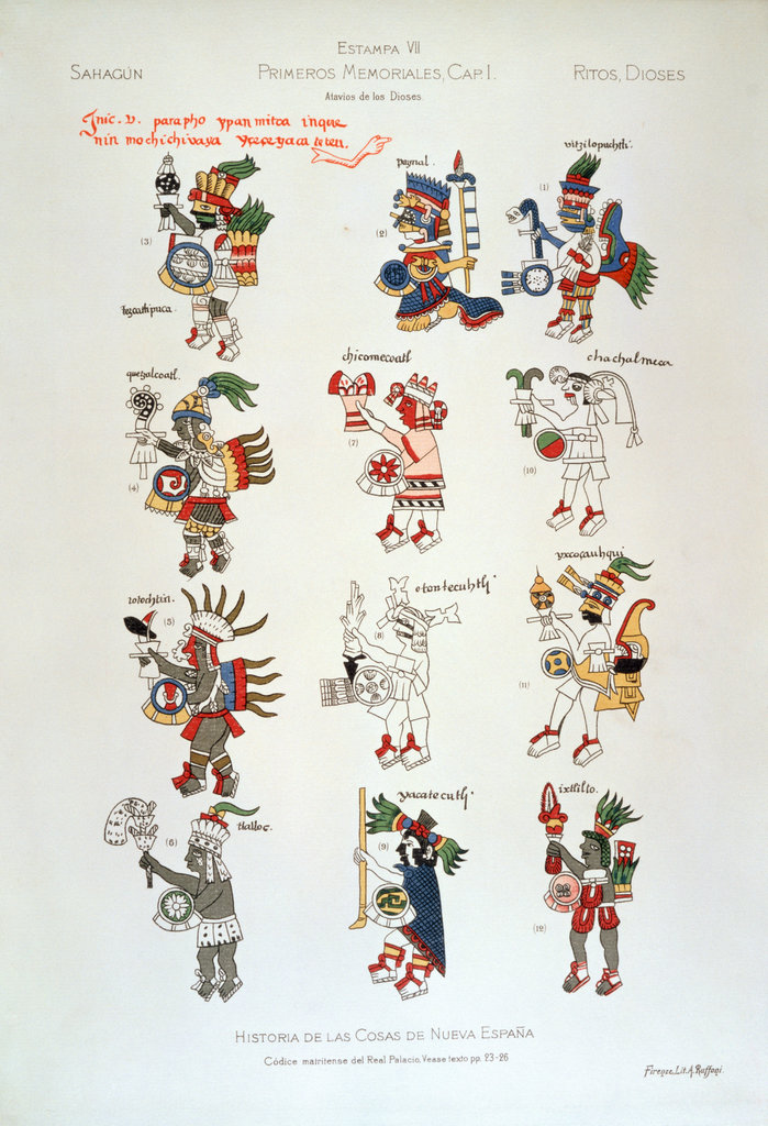 Aztec Gods from Florentine Codex including Huitzilopochtli, Tlaloc, Quetzalcoatl