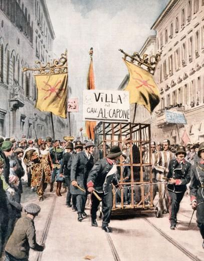 Carnival Scene With Float Representing Al Capone  1932 Artist Unknown Illustration La Domenica del Corriere, Italy  : Stock Photo