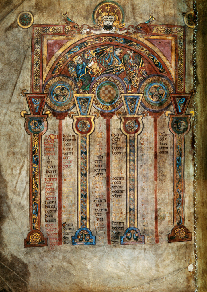 Stock Photo: 862-1720 Book of Kells: Canon Tables Illuminated manuscripts c. 800's Trinity College, Dublin, Ireland
