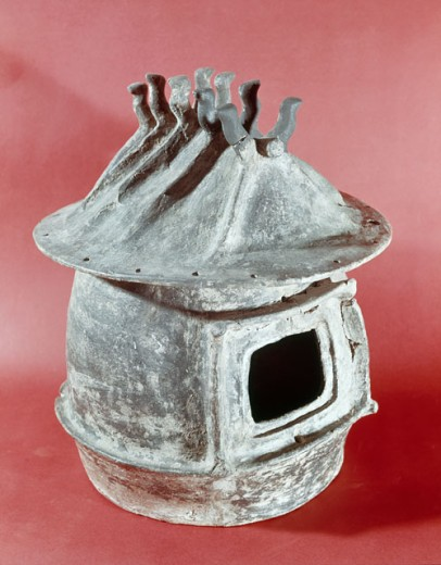 Stock Photo: 862-1721 Urn in Form of Country Cottage Terracotta Etruscan Art Villa Giulia Rome