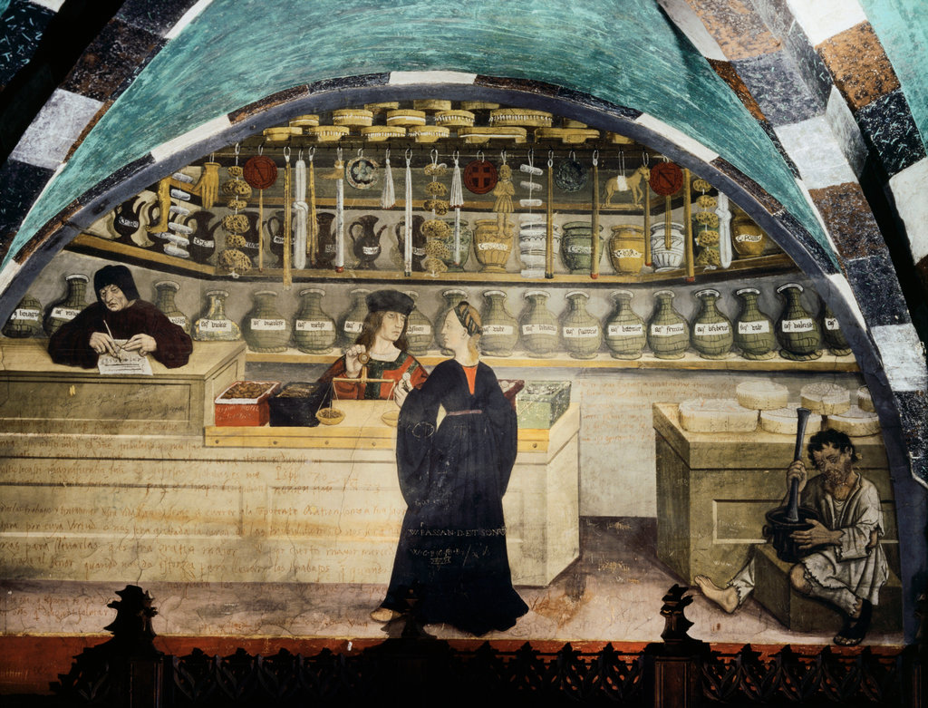 Stock Photo: 862-1727 Interior Of Pharmacy Or Chemist Measuring With Scales And Making Medicine With Pestle And Mortar
