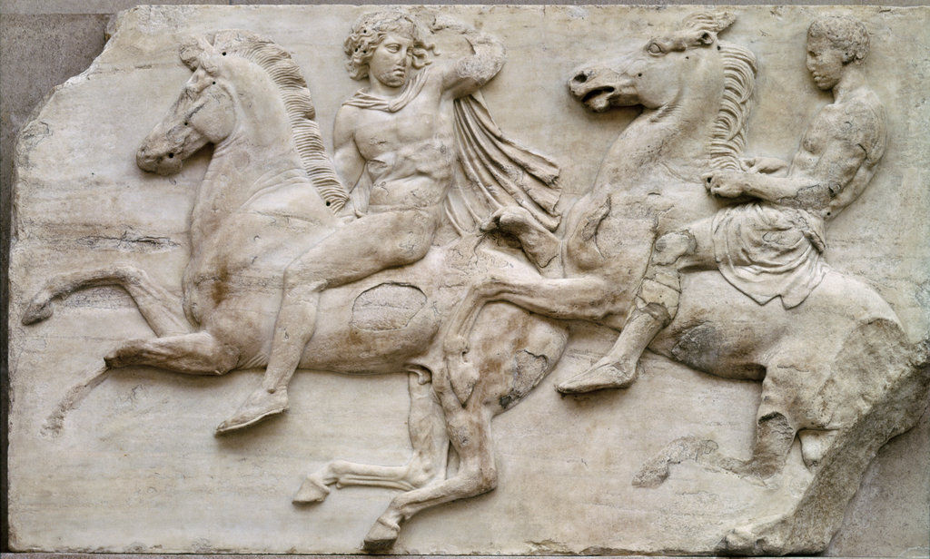 Stock Photo: 862-1745 West Frieze Of The Parthenon Horsemen & Attendants