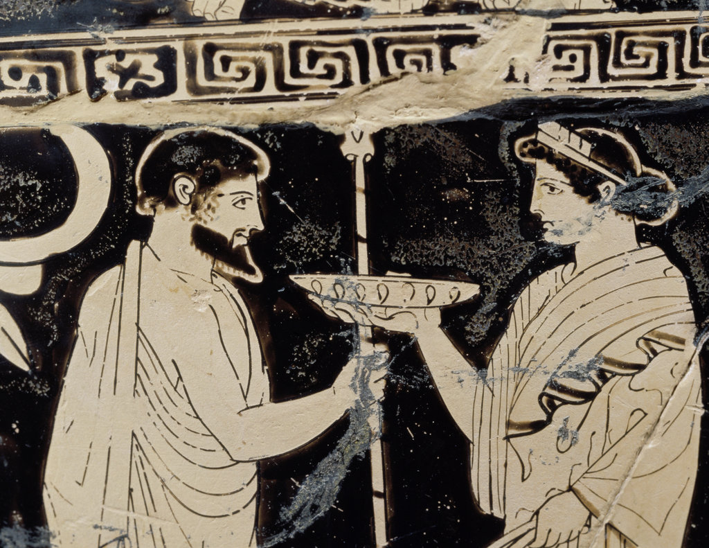 Attic Red Figure Krater with Dionysian Scene 460 B.C. Master of Niobids Archaeological Museum, Ferrara, Italy  : Stock Photo