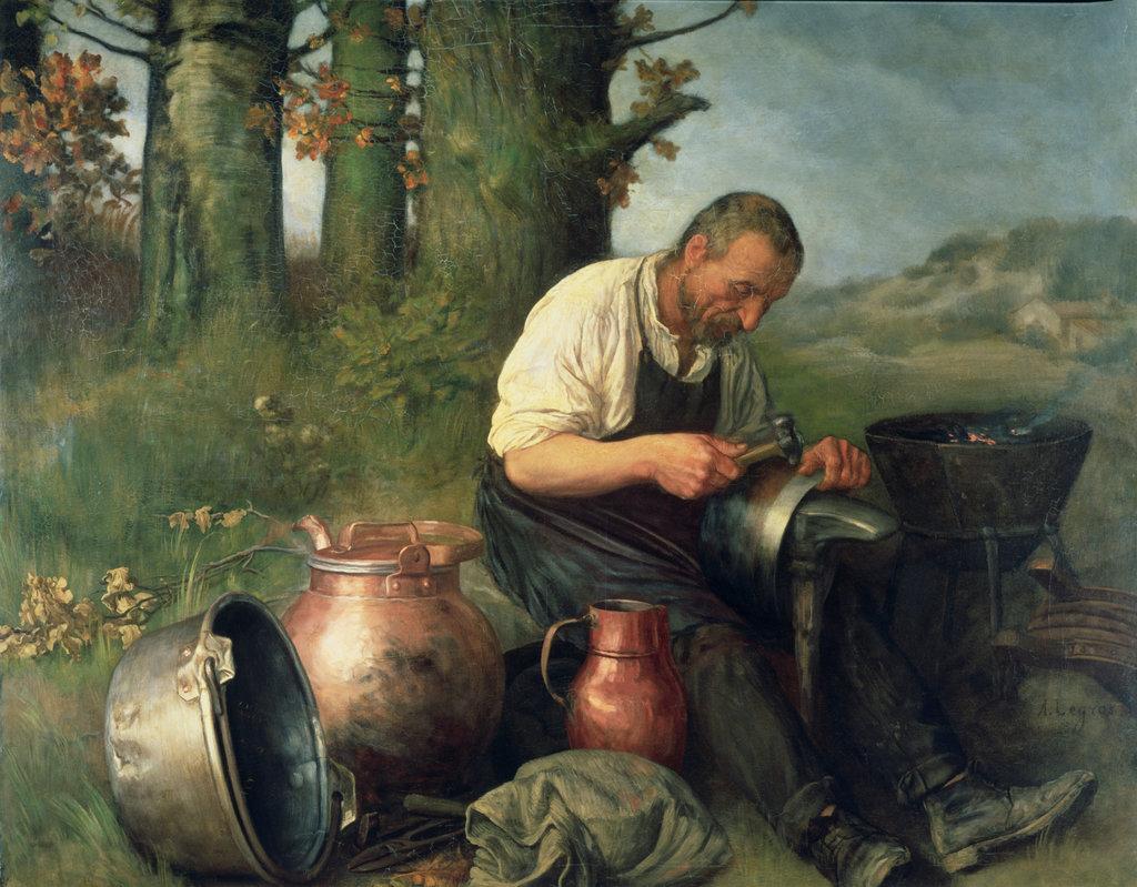 Stock Photo: 862-1776 The Tinker Alphonse Legros (1837-1911 British) Victoria & Albert Muesum, London