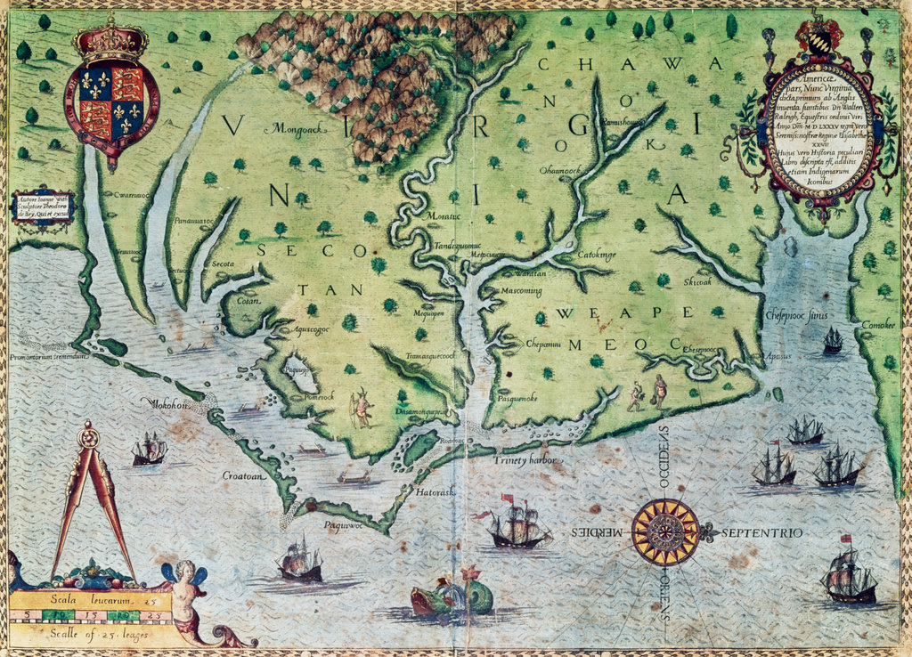 Virginia, Map Of America Part I 1590 Bry, Theodor de(1528-1598 Netherlandish) New York Public Library, New York, USA  : Stock Photo