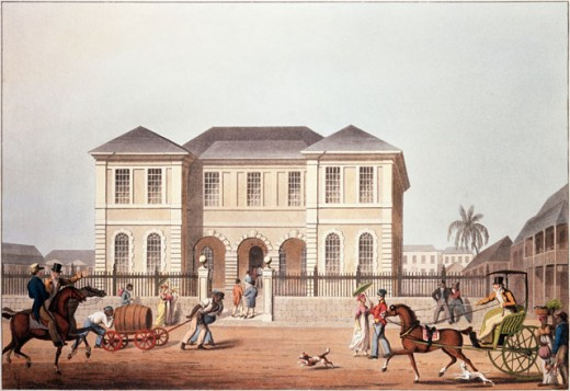 Stock Photo: 862-1806 Ten Views In The Island Of Antigua By William Clark, The Court House St. Johns Antigua