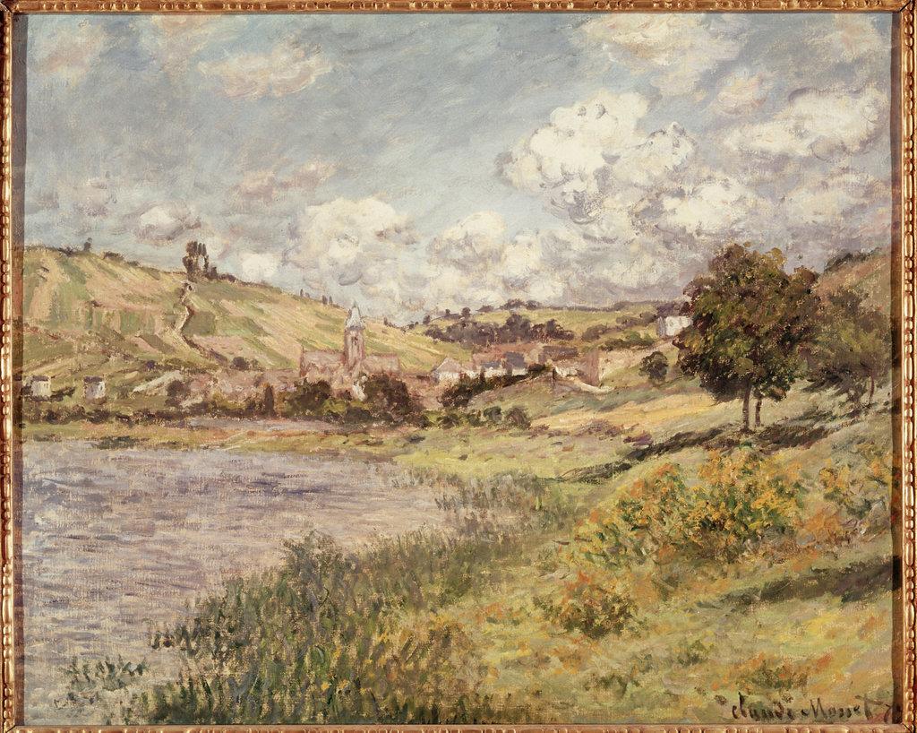 Landscape at Vetheuil Claude Monet (1840-1926 French) Oil on canvas Musee du Louvre, Paris : Stock Photo