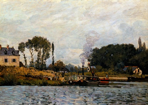 Boats at Lock at Bougival by Alfred Sisley, (1839-1899), France, Paris, Musee D'Orsay : Stock Photo