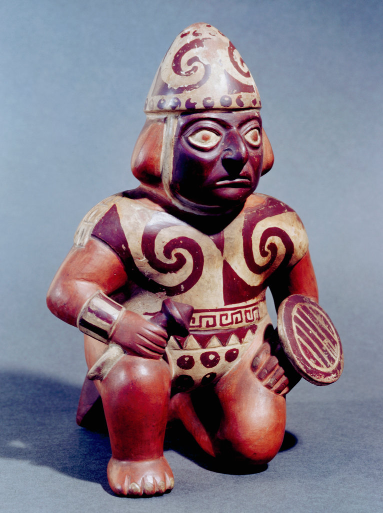 Ceramic Kneeling Warrior Armed With Club And Shield