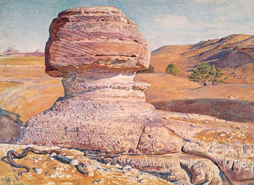 Sphinx at Giza Looking Towards Pyramids of Saqqara by William Holman Hunt, painting, (1827-1910), UK, Preston, Harris Museum and Art Gallery : Stock Photo