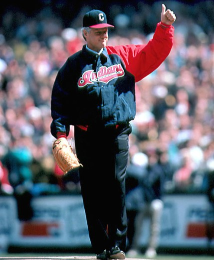 Stock Photo: 863-W189 President Bill Clinton Throws out First Ball at Indian's New Stadium  Cleveland Ohio, USA April 1994