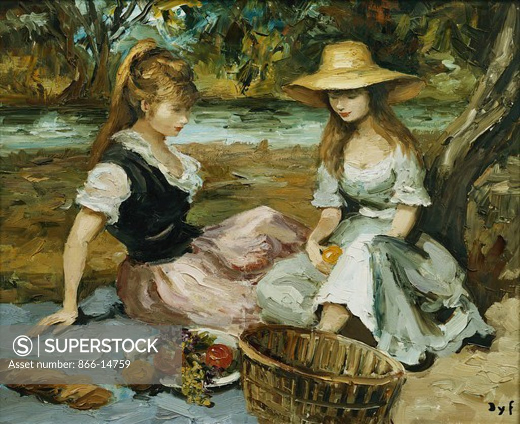 Two Sisters; Les Deux Soeurs. Marcel Dyf (1899-1985). Oil on canvas. 60 x  73cm. Stock Photo 866-14759 : Superstock