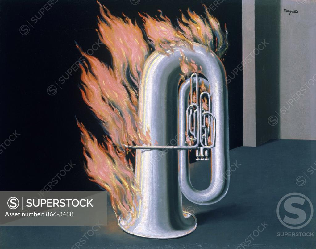 Stock Photo: 866-3488 The Discovery of Fire (La decouverte de feu) Rene Magritte (1898-1967/ Belgian) Oil on canvas