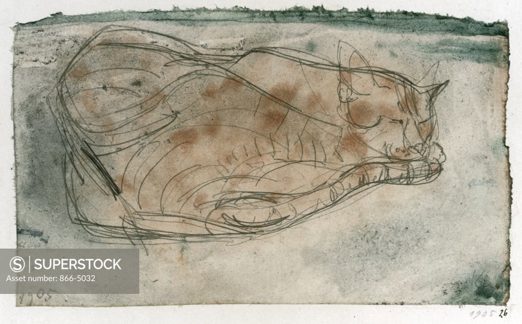 Stock Photo: 866-5032 Sleeping Cat Paul Klee (1879-1940 Swiss) Christie's Images