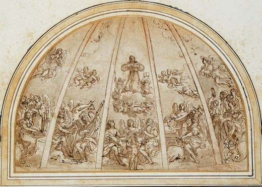 Stock Photo: 866-10126 The Apotheosis of Saint Francis Surrounded by Musician Angels: Design for an Apse or Half-Dome Divided by Ribs. Giovanni Andrea Sirani (1610-1670). Red chalk, pen and brown ink, brown wash. 27 x 40.5cm.
