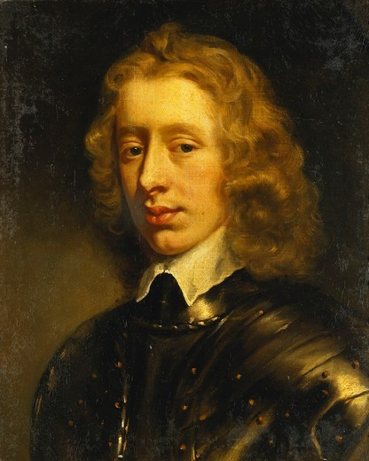 Portrait of a Young Gentleman, thought to be the Duke of Richmond, Bust Length, Wearing Armour. Sir Peter Lely (1618-1680). Oil on canvas laid down on board. Painted circa 1650. 53.3 x 44.5cm. : Stock Photo