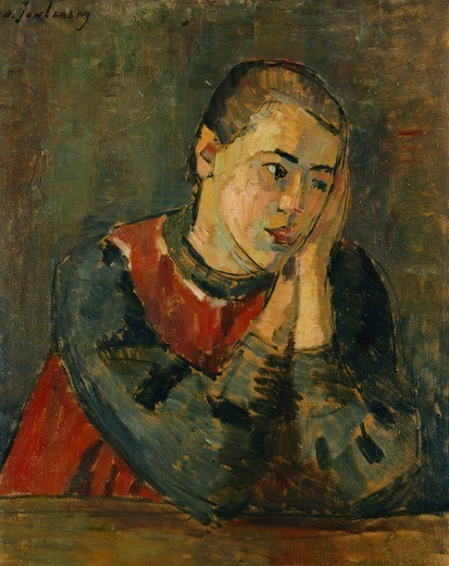 Stock Photo: 866-10817 Child with Trimmed Head; Kind mit Gestutztem Kopf. Alexej von Jawlensky (1864-1941). Oil on board. Painted in 1906. 62.2 x 49.4cm.